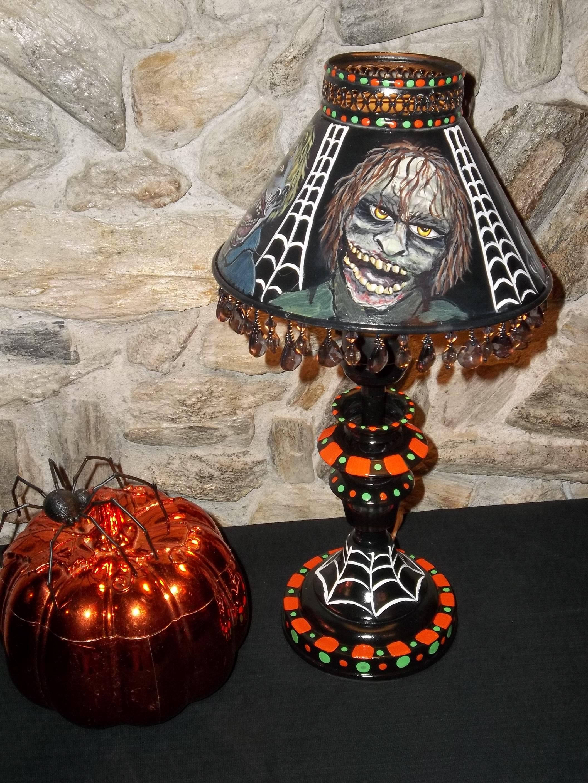 #8 Hand Painted Halloween Zombie Vintage Metal Lamp